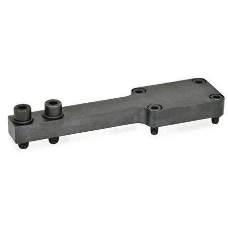 GN 869.2 Steel, T-Bracket / Double Post Bracket Accessories for pneumatic fastening clamps Type: P - Jaw block parallel to clamping arm