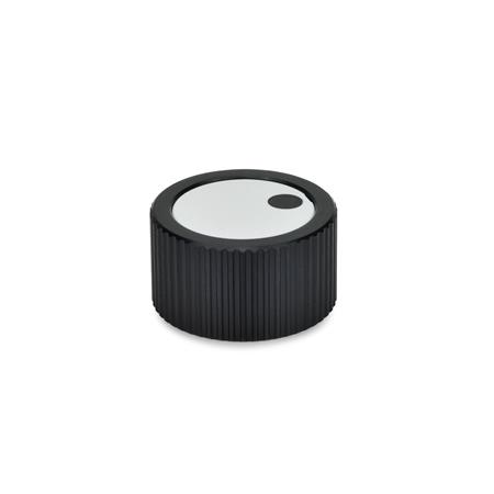 GN 726 Metric Size, Aluminum, Knurled Control Knobs, Plain Bore or Collet Type Bore d<sub>3</sub> (Id. No.2): Z 10<br />Type: M - Cover with indicator point