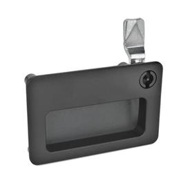 GN 115.10 Zinc Die-Cast Latches with Gripping Tray, Operation with Key, Not Lockable Type: VDE - Operation with double bit<br />Finish: SW - Black, RAL 9005, textured finish<br />Kennziffer: 2 - Operation, in drawn position, at the top right