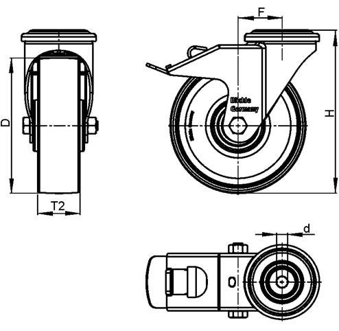 LER-PATH Steel Swivel Polyurethane Treaded Casters, with bolt hole fitting sketch