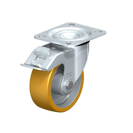 L-ALTH Steel Medium Duty Extrathane® Tread Swivel Casters, with Plate Mounting  Type: K-FI - Ball Bearing with Stop-Fix Brake