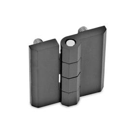 GN 237 Zinc Die-Cast or Aluminum Hinges, Countersunk Thru Holes or Threaded Stud Type Material: ZD - Zinc die-cast<br />Type: C - 2x2 threaded studs<br />Finish: SW - Black, RAL 9005, textured finish