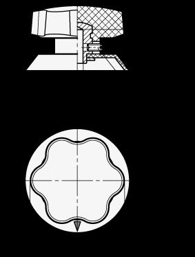 VBI Perillas de control de seis lóbulos con falda, de plástico fenólico boceto