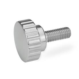 GN 535 Stainless Steel, Knurled Screws, with Threaded Stud Finish: PL - Highly polished finish