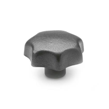 DIN 6336 Perillas de estrella de hierro fundido, con orificio roscado o ciego Tipo: C - Con orificio ciego liso, tol. H7