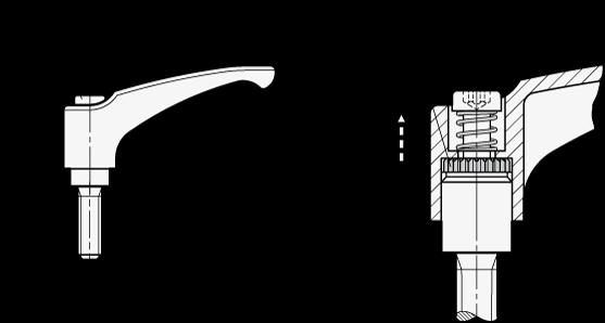 EN 602.1 Manijas ajustables de zinc fundido a presión Ergostyle®, espárrago roscado con componentes de acero inoxidable boceto