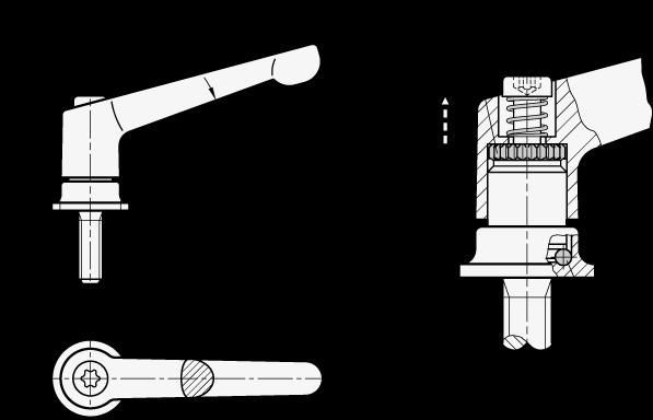 GN 300.4 Manijas ajustables de zinc fundido a presión, con fuerza de sujeción fija, tipo espárrago roscado con componentes de acero boceto
