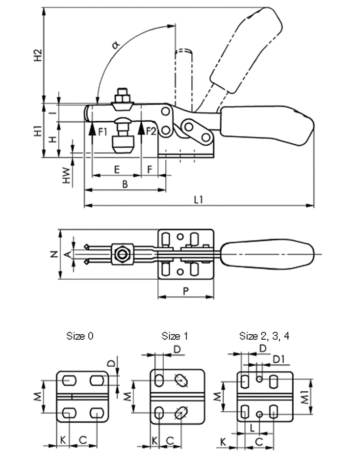 6830 Stainless Steel Horizontal Acting Toggle Clamps, with Horizontal Mounting Base sketch