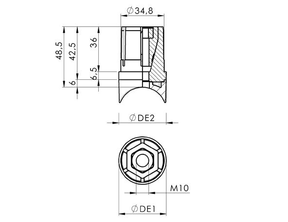 AN 354 Accesorios expansores para tubos para tubos redondos con grosor de pared de 38 mm y D.E. de 1.5 mm  boceto