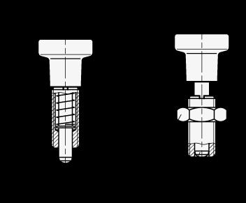 GN 613 Posicionadores de indexado de acero inoxidable, sin bloqueo, con cuerpo totalmente roscado boceto