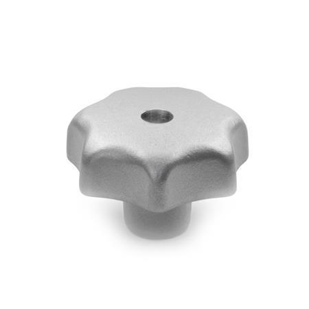 DIN 6336 Perillas de estrella de acero inoxidable, orificio pasante roscado u orificio pasante ciego Tipo: D - Con orificio pasante roscado