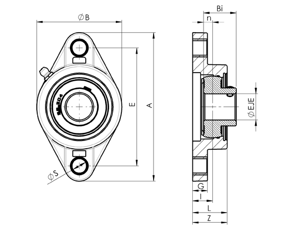 AN 7872.1 Stainless Steel Oval Flange Bearing, With Through Hole Bearing sketch