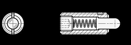 SPNLE Posicionadores de muelle de acero, con vástago de plástico poliacetal boceto