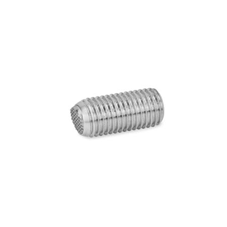GN 605 Stainless Steel Socket Set Screws, With Full, Flat and Serrated Ball Point Ends Type: VRN - flat ball, with swivel limiting stop, corrugated