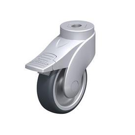 LWG-TPA Rodajas giratorias de nylon plastificado sintético WAVE, con ruedas de caucho termoplástico y ajuste con agujero para perno, componentes de acero Type: G-FI - Cojinete liso con freno «stop-fix»