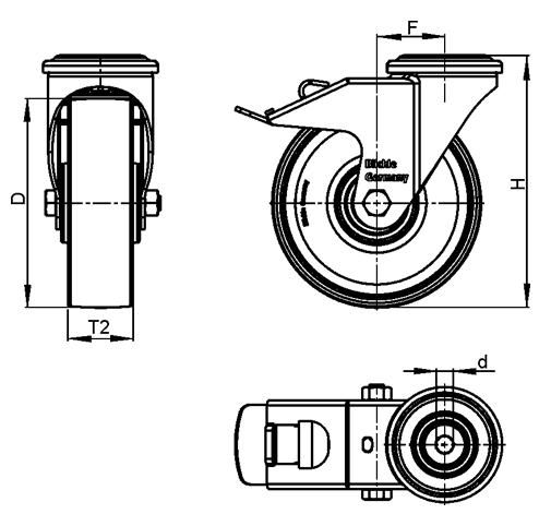 LRA-TPA Rodajas giratorias de acero de servicio ligero con ruedas de caucho termoplástico, y ajuste con agujero para perno  boceto