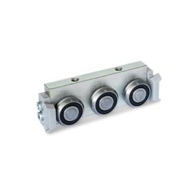 GN 2424 Metric Size, Aluminum or Steel, Cam Roller Carriages, For GN 2422 Cam Roller Guide Rails Type: R - Radial roller carriage, lateral arrangement<br />Version: X - with wiper for fixed bearing rail (X-rail)