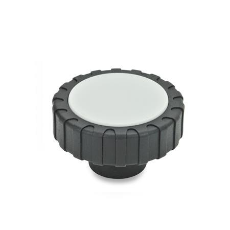 GN 7336 Glass Fiber Reinforced Plastic, Hollow Knurled Knobs, with Stainless Steel and Steel Tapped Insert