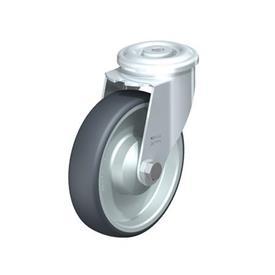 LER-TPA Rodajas giratorias de acero de servicio ligero, ajuste con agujero para perno, ruedas de caucho termoplástico Type: K - Cojinete de bolas