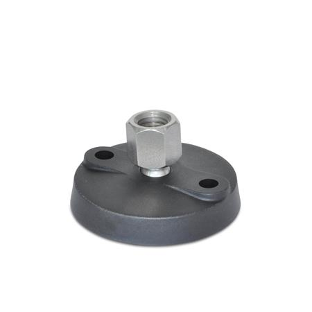 """WN 9000.1 Stainless Steel Tapped Type """"NY-LEV®"""" Nylon Base Leveling Mounts, With Lag Bolt Holes"""