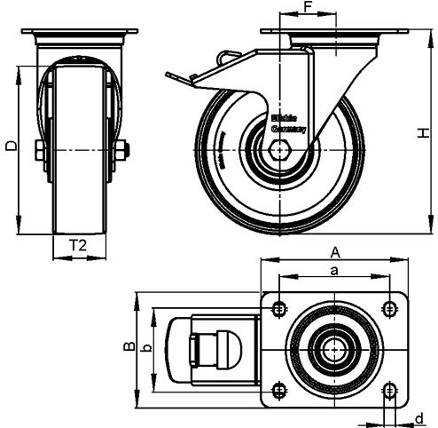 LH-ALEV Rodajas giratorias de acero con rueda de caucho negro de servicio pesado, con placa de montaje, serie de soportes de servicio medio boceto