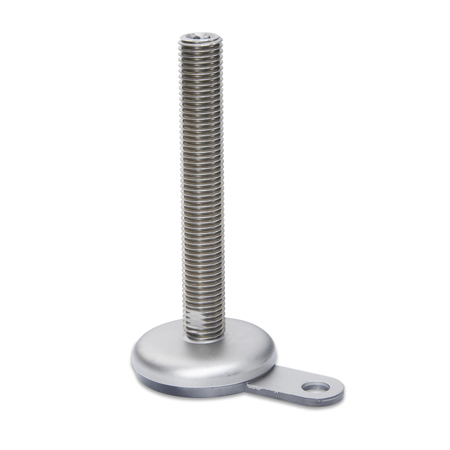 GN 33 Inch Thread, Stainless Steel-Leveling Mounts, with lag bolt lug and rubber pad inlay