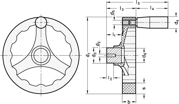 V3RA Volantes de Tres Radios, de Nylon Plastificado Relleno de Fibra de Vidrio, con o sin Empuñadura Giratoria boceto