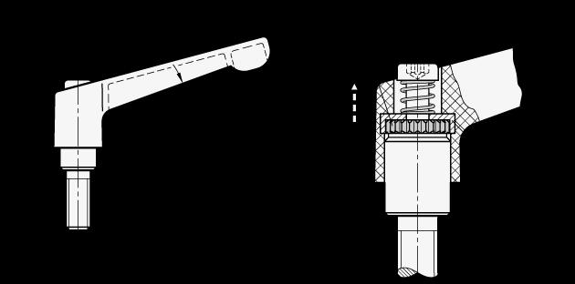 WN 300.1 Palancas ajustables de nylon plastificado, tipo con espárrago roscado, con componentes de acero inoxidable boceto