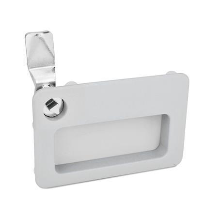 GN 115.10 Pestillos de zinc fundido a presión con bandeja de sujeción, operación con llave, no bloqueables Tipo: DK - Funcionamiento con eje triangular (DK7)<br />Acabado: SR - Plateado, RAL 9006, acabado texturizado<br />Kennziffer: 1 - Funcionamiento, en la posición dibujada, en la parte superior izquierda