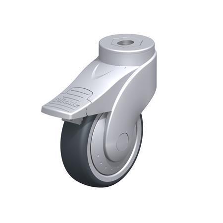 LWG-TPA Rodajas giratorias de nylon plastificado sintético WAVE, con ruedas de caucho termoplástico y ajuste con agujero para perno, componentes de acero Type: K-FI-FK
