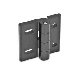 GN 235 Zinc Die-Cast Hinges, Adjustable Material: ZD - Zinc die-cast<br />Type: DB - With through holes and horizontal slots<br />Finish: SW - Black, RAL 9005, textured finish