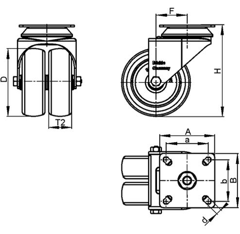LDA-TPA Rodajas giratorias de acero con ruedas gemelas de servicio ligero, con placa de montaje, serie de soportes estándar boceto