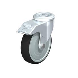 LER-PATH Rodajas giratorias de acero con banda de poliuretano, ajuste con agujero para perno Type: K-FI-FK