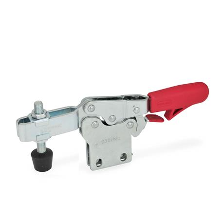 GN 820.4 Steel Horizontal Acting Toggle Clamps, with Safety Hook Latch, with Vertical Mounting Base Type: NLC - U-bar version, with two flanged washers and GN 708.1 spindle assembly