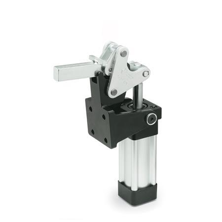 GN 863 Steel Heavy Duty Pneumatic Lock-Down Toggle Clamp, heavy duty type with magnetic piston,  with Vertical Mounting Base