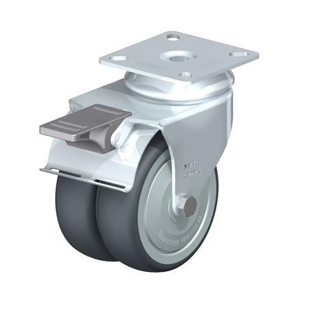 LDA-TPA Rodajas giratorias de acero con ruedas gemelas de servicio ligero, con placa de montaje, serie de soportes estándar Type: K-FI-FK