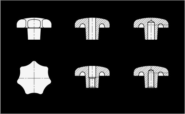 DIN 6336 Perillas de estrella de hierro fundido, con orificio roscado o ciego boceto