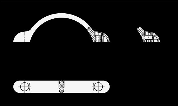 EN 365 Jaladeras en arco de plástico tecnopolímero, con agujeros de montaje avellanados o con insertos roscados boceto