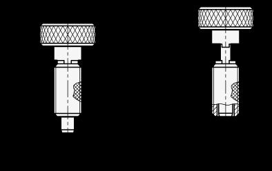 HRSP Posicionadores de muelle replegables a mano de acero, empuñadura moleteada, sin bloqueo boceto