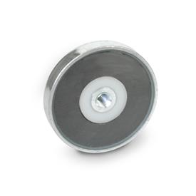 GN 50.4 Steel Retaining Magnets, disc-shaped, with tapped hole