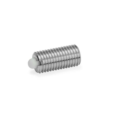 GN 616 Stainless Steel Spring Plungers, with Stainless Steel or Delrin Nose Pins Type: KN - plastic bolt, with standard spring load