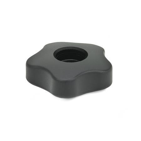 EN 5331 Perillas de cinco lóbulos de plástico tecnopolímero, tipo bajo, con inserto cuadrado o roscado pasante, con o sin tapón Tipo: A - sin tapón