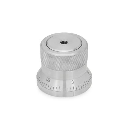 GN 200 Stainless Steel, Indexing Mechanisms Type: AS - with scale 0...50, 60 graduations