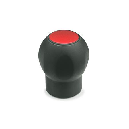 EN 675.1 Technopolymer Plastic Ergostyle® Softline Ball Handles, with Tapped Insert, with Removable Cap Color of the cap: DRT - Red, RAL 3000, matte finish