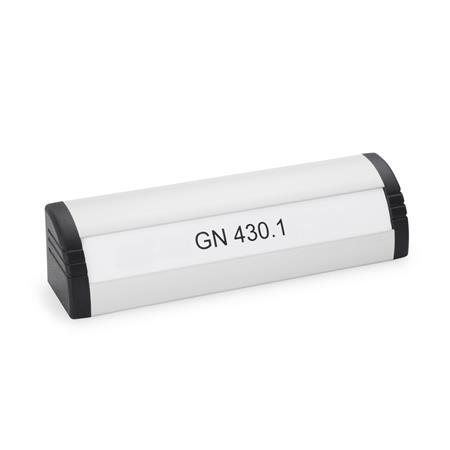 GN 430.1 Aluminum Ledge Handles, with Lettering Block  Finish: EL - Anodized finish, natural color