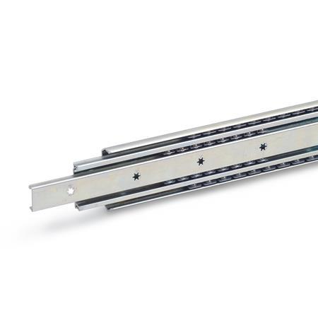 GN 1430 Steel Telescopic Slides, with Full Extension, Load Capacity up to 477 lbf