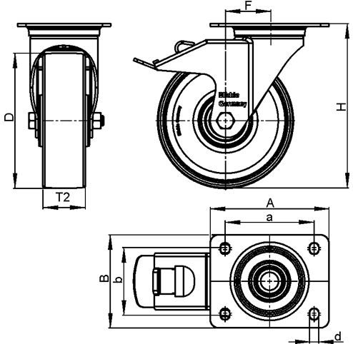 LH-ALTH Steel Heavy Duty Extrathane® Treaded Swivel Casters, with Plate Mounting, Heavy Duty Bracket Series sketch