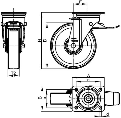 LS-GSPO Rodajas giratorias de acero con rueda de nylon y hierro fundido de servicio pesado, con placa de montaje, serie de construcción soldada boceto