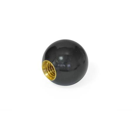 PBH Phenolic Plastic Ball Knobs, Tapped Hole or Tapped Insert Type