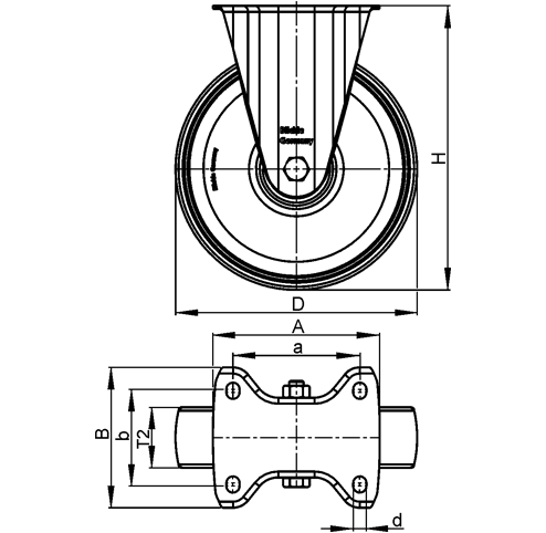 B-PO Rodajas fijas de acero con ruedas de nylon de servicio medio, con placa de montaje, serie de soportes estándar  boceto